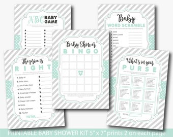 Mint baby shower games, Boy baby shower package, Mint Grey baby shower game pack, Baby shower set, Baby shower bundle, BY190