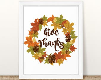 Give Thanks Printable Art Print, Fall Leaf, Autumn Leaf Print, Fall Printable, Autumn Home Decor, Thanksgiving Printable, Fall Leaves