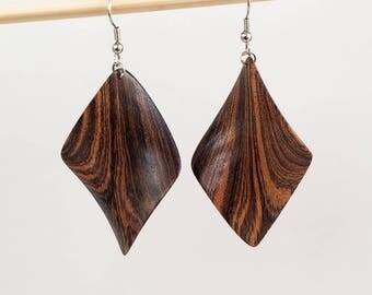 Wooden rhomb earrings, Wood earrings, Bocote,  Hand carved earrings, Natural earrings, Natural jewelry