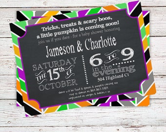 Fall Baby Shower Invitation - Fall Baby Shower Invites - A Little Pumpkin is on the Way - Halloween Baby Shower Invitations - Custom Invites