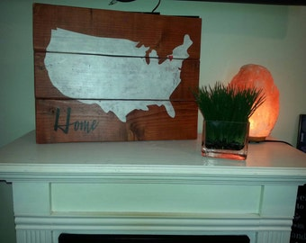 United States Rustic Pallet Wood Sign Home Map Wall Hanging Reclaimed Wood Repurposed Primitive Decor Heart Personalized Travel Gift Wedding
