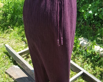 Vintage Midi/Long High Waist Maroon Skirt W/ Beaded Drawstrings