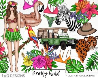 Fashion Girl Clip Art Watercolor Clipart PNG Safari Jungle Wild Floral Tropical Hula Hand Drawn Babe Illustration Planner Sticker Graphics