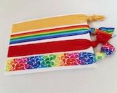 Hair tie elastics - mixed rainbow set - large