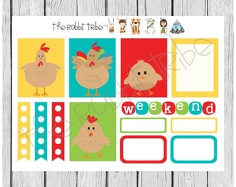 Weekly sticker set - chicken family - planner stickers
