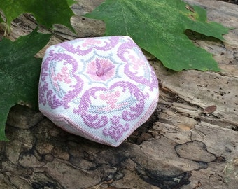 Finished cross stitched Biscornu, Hand embroidery pincushion, womens gift, sewing accessories, lilac pale pink gray gift