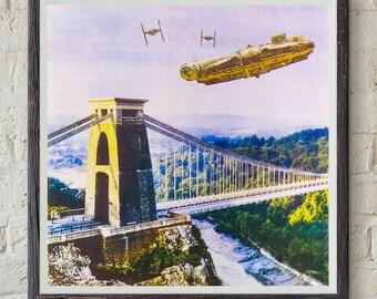 Screen print - Star Wars v Bristol Episode I - Millennium Falcon Dogfight Over Avon Gorge