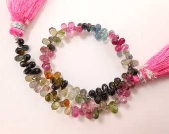 """Natural Gemstone Super Quality 8"""" Strand Multi Tourmaline Teardrop Briolette Faceted Beads 5.5X3.5mm Approx"""