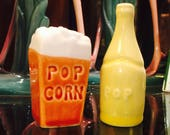 Arcadia Ceramics Inc Movie Popcorn and Soda Pop Salt and Pepper Shakers made in California circa 1940s