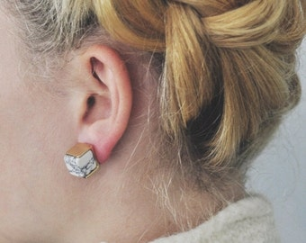 40% OFF Gold Marble Cubist Earrings / Geometric Jewelry / Geometric Earrings / Gold For Her