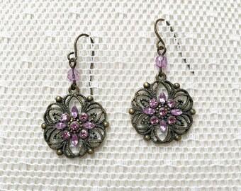 Vintage Filigree and Rhinestone Pierced Earrings