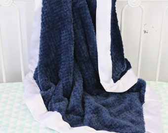 Navy with White Satin Trim Minky Baby Boy Blanket | Navy, Blue, White, Satin, Plush Minky Baby Boy Blanket | Baby Stroller Accessery