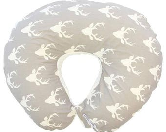Woodlands Deer | Gray and White Nursing Pillow Cover