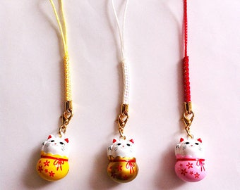Manekineko Cell Phone Straps, Omamori Accessories, Mobile Phone Charms, Lucky Beckoning Cat