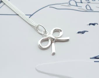 Tiny Bow Necklace, Silver Bow Necklace, Dainty Bow Necklace