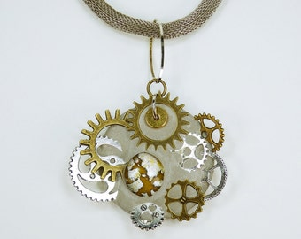Necklace Glamour Steampunk yellow cabochon gears bronze and silver-colored concrete jewelry braided necklace unique Gear gold-silver