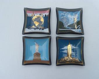 New York World's Fair Set of Four Glass Trays, New York Souvenir Pin Dishes