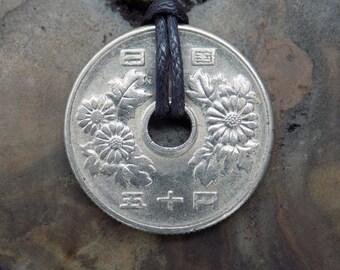 Yen Necklace, SALE**, 50 Yen Coin, Yen Coin, Anime, Manga, Otaku, Japanese Culture, Japan Coin, Silver Coin Necklace.