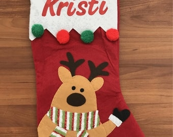 Personalized Christmas Cute Reindeer Stocking Embroidered Lettering Any name