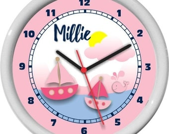 Pink Sail Boats and Whales Nautical Sail Boats Girls Personalized Nursery Wall Clock