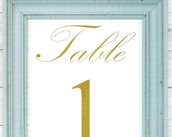 Gold Table Numbers 1-20, 5x7, Digital Download