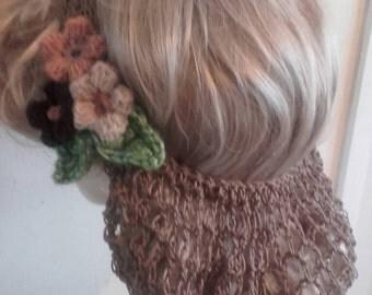 1940's wartime half snood vintage style handmade crochet flowers beige hairnet