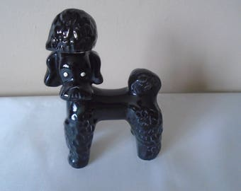 black ceramic poodle decanter