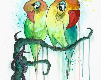 Illustration Acrylic Painting Love Birds
