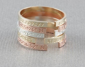 Personalized skinny coordinates ring, location ring, letter ring. gift for her, custome stamp letter ring in gold filled, and silver( OD 22)