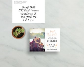 simple modern save the dates // peach watercolor floral leaves // brush hand lettering calligraphy // PRINTED save the date magnets cards
