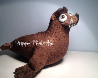 """Plush inspired by the character """"GERALD"""" of the animation film """"Finding Dory"""" - brown seal -"""