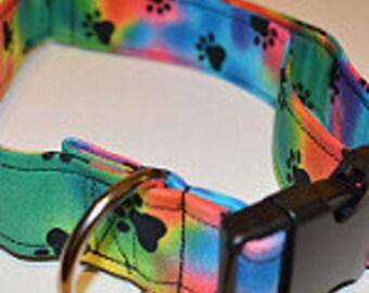 Tie Dye Paw Print dog collar