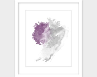 Gray & Purple Abstract Watercolor Print, Violet Gray Minimalist Modern Printable Wall Art, Abstract Watercolor Instant Digital Download Grey