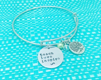 Personalised Hand Stamped Teach Love Inspire bracelet with a tree of life charm. Teachers Gift. Teacher. Handmade. Adelaide. Love.