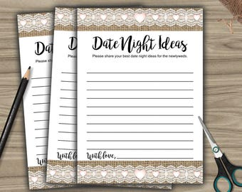 Date Night Ideas - Game - Cards - PRINTABLE - INSTANT DOWNLOAD - Burlap and Lace - Rustic Bridal Shower - Bachelorette Party - L46