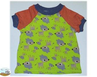 Children Baby T-Shirt shirt Jersey cotton size 62-68 Bambi deer green, orange
