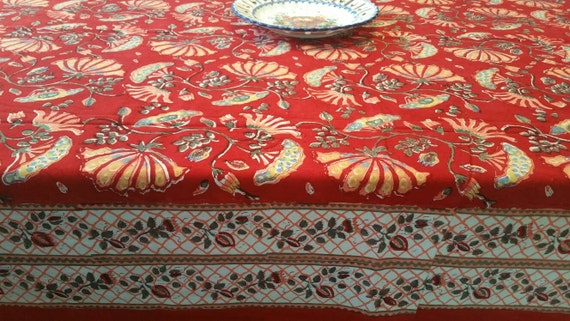 Block Print Dining Table cover/Indian Table Linen/Hand made Dining table cover/ Ethnic Dining table Runner/Block Print Dining Table Linen