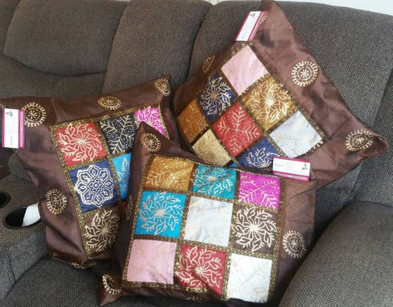 Brown Boho Couch Cushion cover, Farmhouse pillow, gypsy pillow cover, designer pillow, boho pillow, boho accent pillow, xmas gift for her
