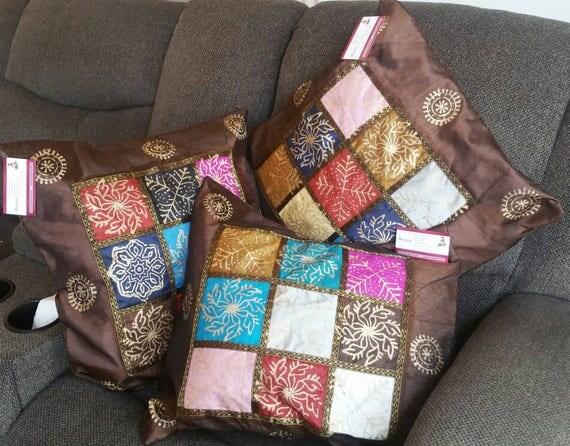Brown block print cushion, Handmade Pillow, Cushion Cover, ethnic pillow, Boho decoration, Boho Pillow Cover, Throw Pillow case Sofa Cushion