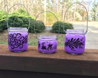 Purple lanterns fairy hanging jar