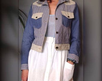 CERRUTI jacket denim blue and beige striped vintage 90 s (S/36)