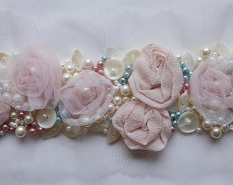 Hand-made trim with applique flowers and shells