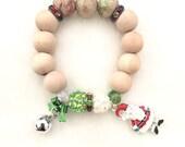 Santa charm bracelet/ Jingle bell bracelet/ Christmas bracelet with Santa charm