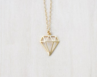 Gold Charm Necklace, Geometric Necklace, Layering Necklace, Everyday necklace
