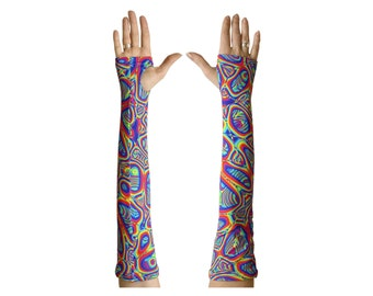 Arm sleeves 'Prismatic', 2 Trippy arm warmers. Psychedelic fingerless gloves. UV active rave wear, Festival clothing, spandex lycra gauntlet