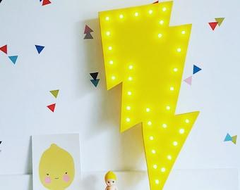 Lightning Bolt Marquee Light, Thunderbolt Light, Bolt Light, Lightning Bolt Lamp, Boys Lamp, Novelty Light, Lightning Bolt Decor, Bolt