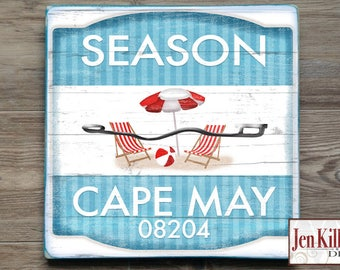 "Beach Badge Sign "" Cape May"" New Jersey  // Jersey Shore Art // NJ // Beach Decor // Town Signs // Beach House Sign"