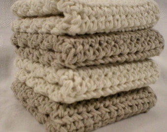 Handmade Crochet Cotton Washcloths or Dishcloths, Set of 4: 2 Beige, 2 Cream (#6290)