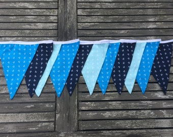fabric bunting blue anchor, banner, flags