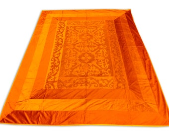 Silk Orange Mughal Design Double Bed Cover 260x240 CM